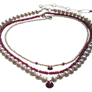 SOLD Custom order for D.K :Set of 3 Gemstone Layering Necklaces with Rubies
