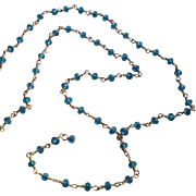 Blue Topaz Gemstone Chain Necklace with 18k Gold Vermeil