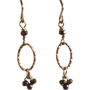 Petite Pyrite Gem Earrings with Bronze