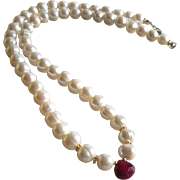 White Freshwater Cultured Pearl Necklace with Ruby Gem Center