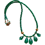 Columbian Emerald Gemstone Necklace with 20k Gold Beads