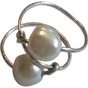 SOLD Freshwater Cultured Pearl Ring, Wire-Wrapped with Sterling Silver