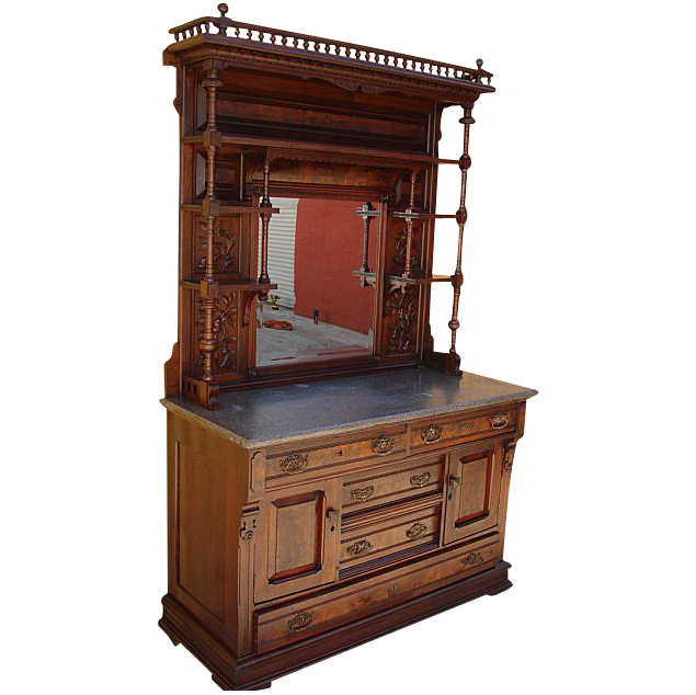 Antique Furniture Antique Victorian Marble Top Display Hutch Buffet Cabinet