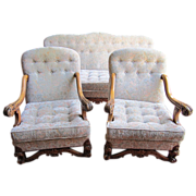 SOLD Spanish Antique Carved Walnut Sofa and Two Chairs Armchairs Antique Furniture!