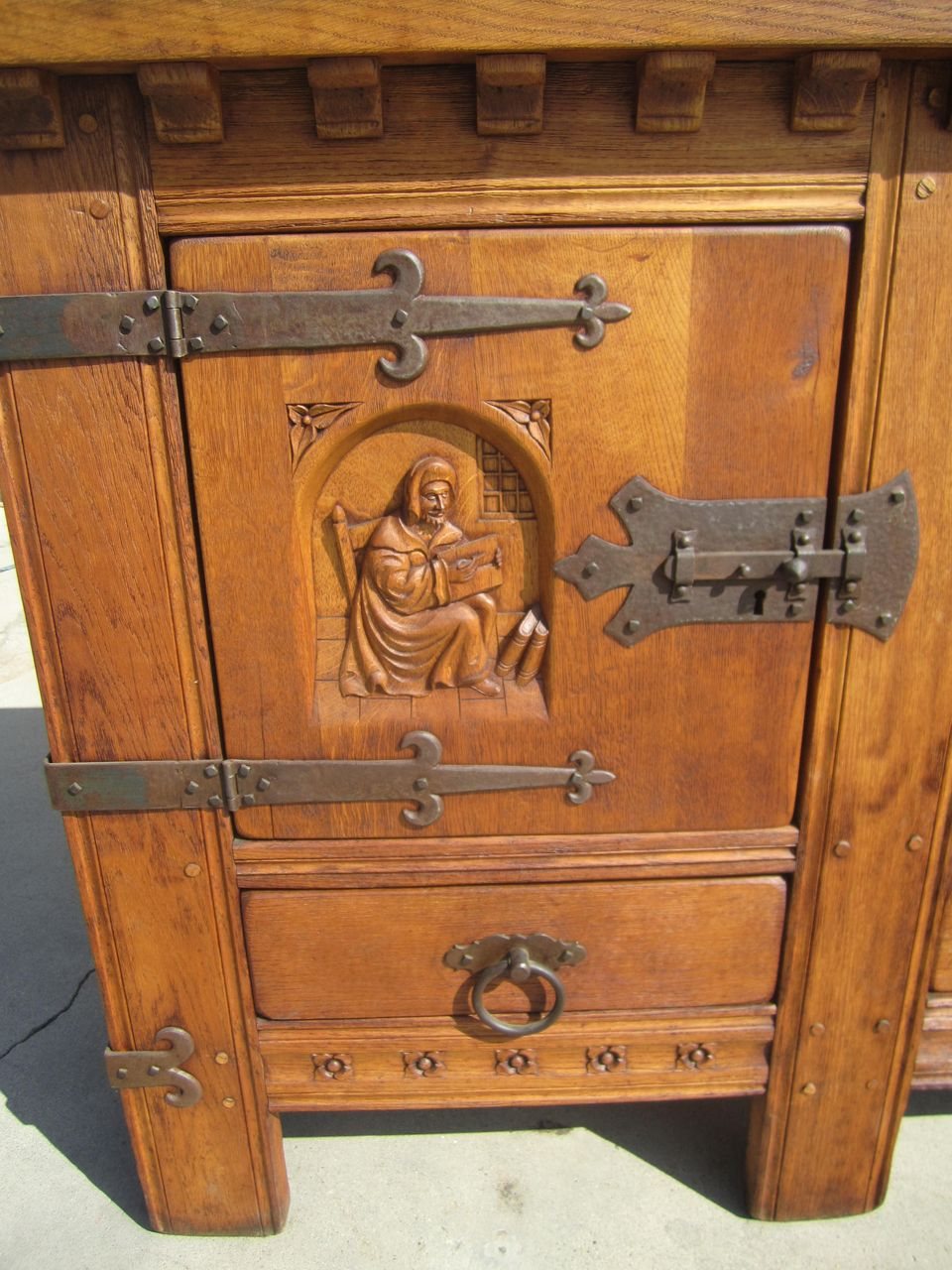 French Antique Rustic Sideboard Cabinet With Iron Accents Antique From