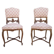 SOLD Antique Furniture French Antique Carved Side Chairs!
