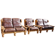 SOLD Antique Rustic Pair of Leather Loveseats  Sofa Couch and Armchair!