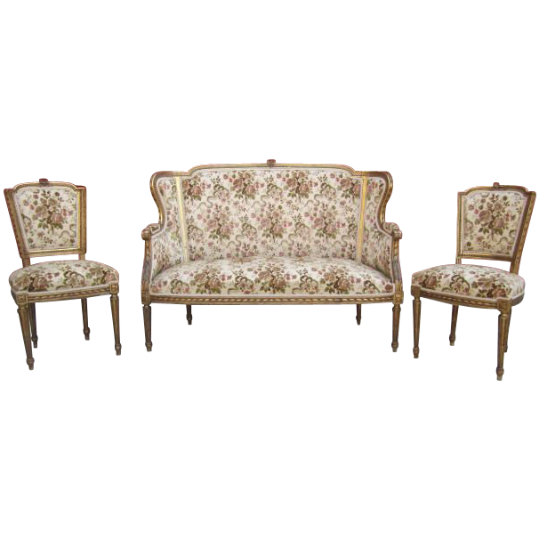french antique settee loveseat sofa and two chairs antique furniture