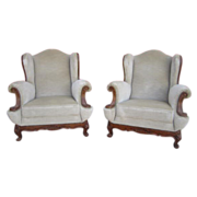French Antique Pair of Wing Back Chairs Armchairs Antique Furniture