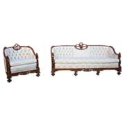 SALE PENDING Antique Carved Sofa Couch and Chair Armchair Antique Furniture
