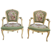 French Antique Painted Armchairs Needlepoint Chairs Antique Furniture