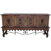 Spanish Antique Gothic Sideboard With Iron Stretcher