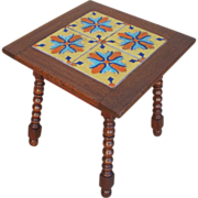 Antique Mission Spanish Tile Top Accent Side Table