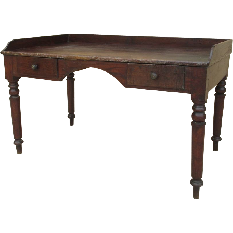 Rustic Antique Two Drawer Writing Desk From Rubylane Sold