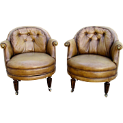 1930's English Chesterfield Style Leather Club Chairs with Brass Accents