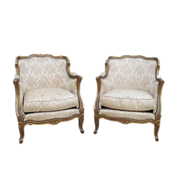 SALE PENDING French Antique Pair of Bergere Arm Chairs Antique Furniture