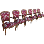French Antique Louis XV Set of Six Armchairs Chairs Antique Furniture
