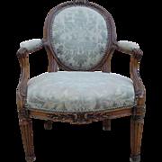 French Antique Louis XVI Arm Chair Fauteuil