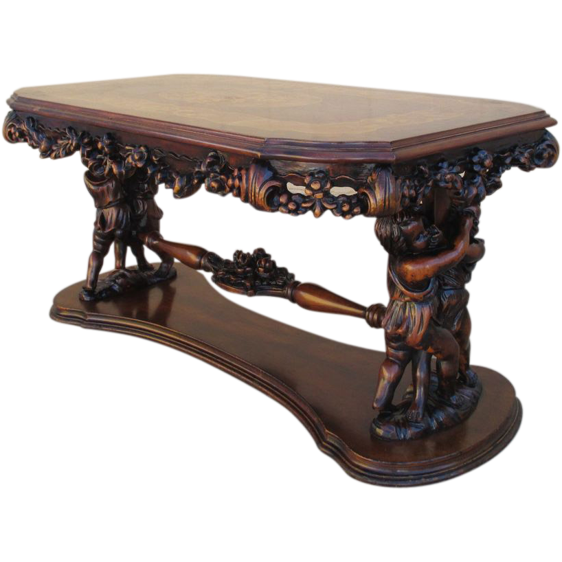 Antique Italian Walnut Cherub Coffee Table With Inlay From
