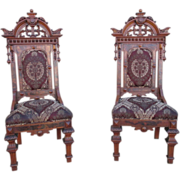 Antique Victorian Gothic High Back Hall Chairs Antique Furniture