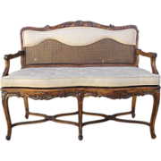 SALE PENDING French Antique Walnut Settee Sofa with Caned Accents Antique Furniture
