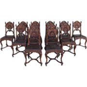 SOLD French Antique Gothic Leather & Walnut Dining Chairs Set of 12