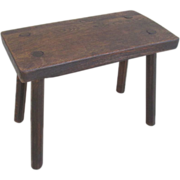 French Antique Rustic Footrest Milking Stool