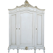 SALE French Antique Painted Louis XV Style Armoire Shabby Chic