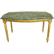 French Antique Marble Top Coffee Table Painted Table