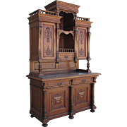 French Antique Walnut Hutch China Cabinet Sideboard