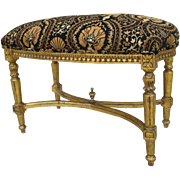 SALE PENDING French Antique Louis XV Style Gilt Upholstered Bench Antique Furniture