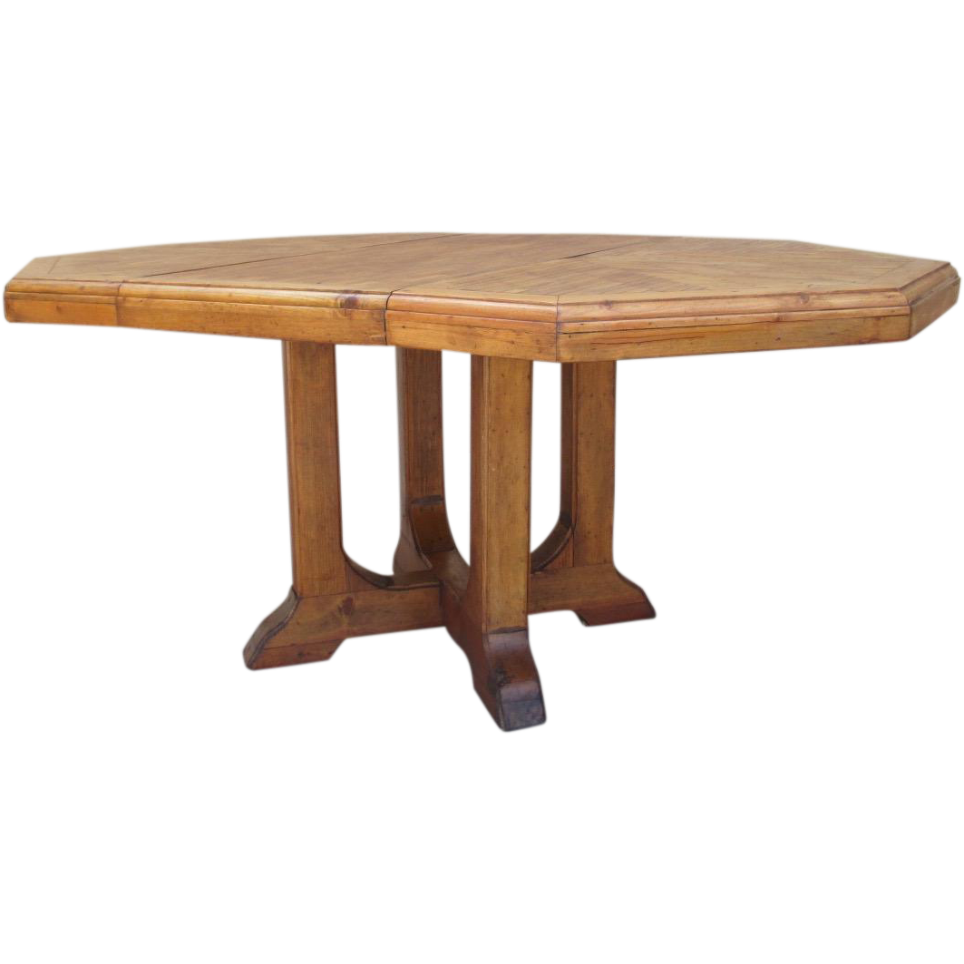 Rustic Antique Country Pine Dining Table With Leaf From