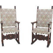 Pair of Spanish Antique Hall Chairs King's Chairs Arm Chairs