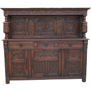 French Antique Carved Court Cupboard Sideboard Cabinet Antique Furniture
