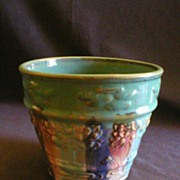 """A E Hull Pottery """"Early Art"""" Jardiniere w/Embossed Design in Blended Glaze"""