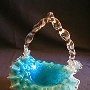 Blue/White/Clear Vasa Murrhina or Spangle Art Glass Basket