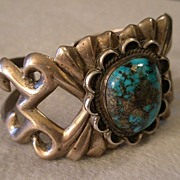 SALE American Indian Sand-Cast Silver & Turquoise Cuff Bracelet
