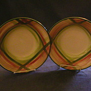 "Vernon Kilns ""Tam O'Shanter"" Pattern (2) Round Open Vegetable Bowls"