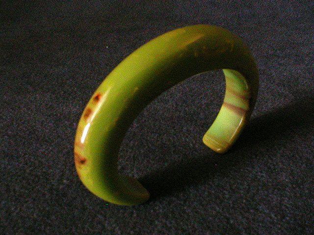 Vintage Bakelite Green/Brown/Yellow Marbleized Cuff Bracelet