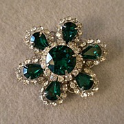 Coro Vendome 4-Layer Silver-Tone w/Emerald & Clear Rhinestone Brooch