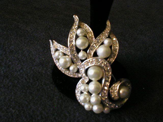 Ledo Silver-Tone Scroll Brooch encrusted w/Faux Pearls & Clear Rhinestones