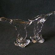 "Heisey Crystal ""Mallard Duck - Wings Down"" Figurine - Marked ""H"""
