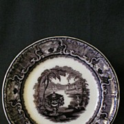 "Podmore, Walker & Co. Mulberry Black Transfer ""Washington Vase"" Plate"
