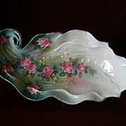 "SALE Wheelock ""Prussia"" Leaf-Shape Celery/Relish Tray w/Embossed & Floral Decora"