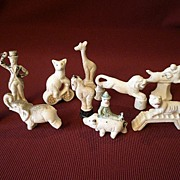 """10 Piece Bisque """"Circus Animals & People"""" Figures - Made in Japan"""