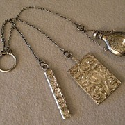 SOLD Sterling Silver Engraved 3-Piece Dance Chatelaine for Evening Wear