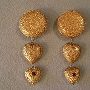 "SALE ""Dominique Aurientis"" Embossed Gold-Tone & Rhinestone Clip Earrings"