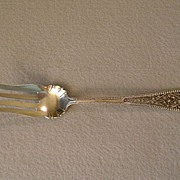 """Watson & Newell Co Sterling Silver """"Filigree Handle"""" Cold Meat Fork"""