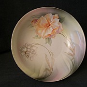 R.S. Germany (Green Mark) Serving Bowl w/White & Peach Dahlia Floral Decoration