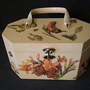 Annie Laurie Original Palm Beach Designer Purse w/Puffy Butterflies & Flowers Decoration